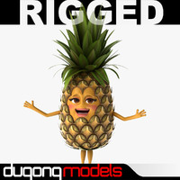 dugm07 cartoon pineapple rigged 3d model