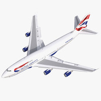 3d model boeing 747-400 british airways
