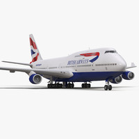 3d boeing 747 400 british airways model