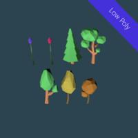 3d model trees set flowers