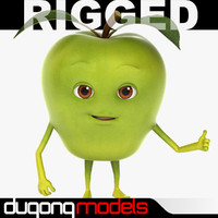3d model dugm07 rigged cartoon apple