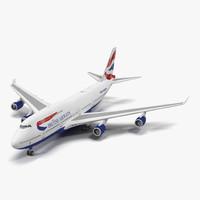 3d boeing 747-400er british airways