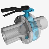 3d butterfly valve model