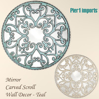 3d model mirror carved scroll wall