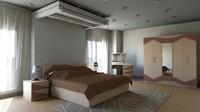 3d bedroom modern furniture model
