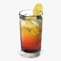 3d model glass ice tea lemon