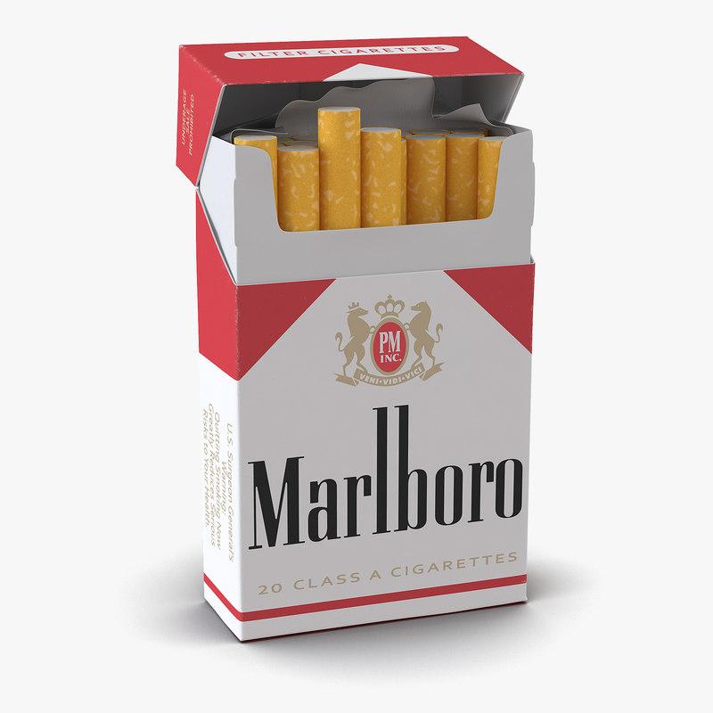 Opened Cigarettes Pack Marlboro 3d model 01.jpg
