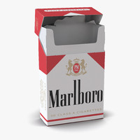 3d model opened cigarettes pack marlboro