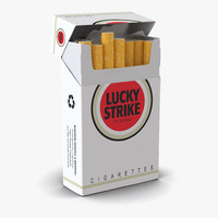 3d model opened cigarettes pack lucky