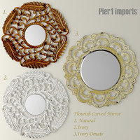 3d model flourish carved mirror set