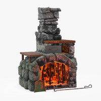 3d max fireplace cartoon
