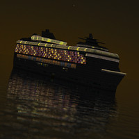 3d model cruise liner night