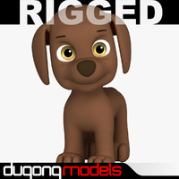 3d dugm06 rigged cartoon dog