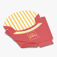 3d model crumpled french fry box
