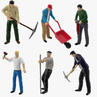 miniatures men work 3d model