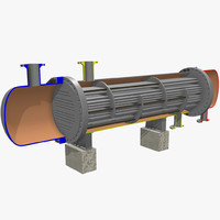 fixed tube heat exchanger 3d model