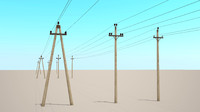 power lines 6-10kv 3d max