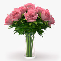 3ds roses pink bouquet
