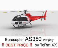 3d helicopter eurocopter as350 model