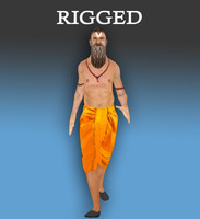 indian-mythological character-historical-gaming-rigged-godman-male 3d model