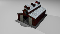 3d obj american red barn
