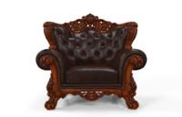 sofa single wood 3d model