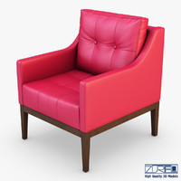 3d carmen armchair red leather model