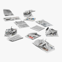 3d model newspaper litter