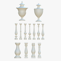 3ds architectural balusters pack urn