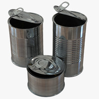 3d open tin cans set model