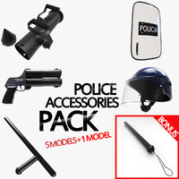 3d 3ds pack police accessories