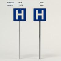 hospital signs 3d model