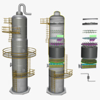 3d fractional distillation tower