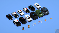 pack car cartoon swat police 3d fbx