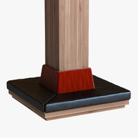 wood column seat square 3d model