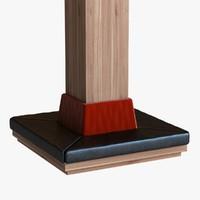 wood column seat square 3d model