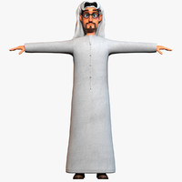 3d model cartoon arab man body