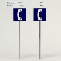3d telephone sign model