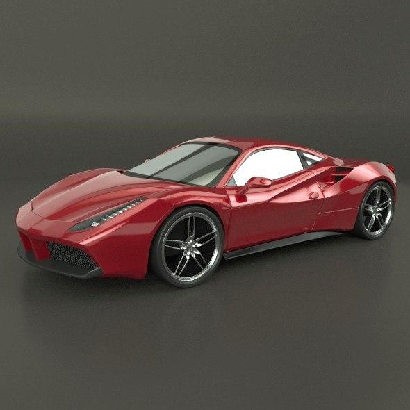 3d Model Ferrari 488 Gtb Racing Car