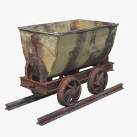 rusted mining cart pbr 3d model