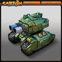 cartoon heavy tank 3d model