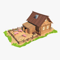 Cartoon wooden house