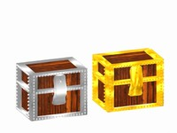 3d model of gold silver chest