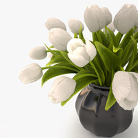 3d tulips bouquet white model