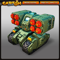 cartoon missile launcher 3d model