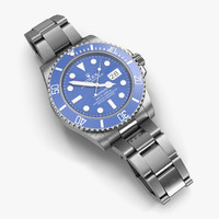 3d rolex submariner date blue