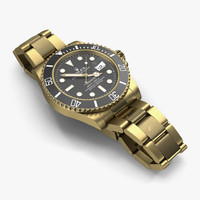 rolex submariner date gold 3d c4d