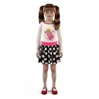3d fashion baby dressed girls model