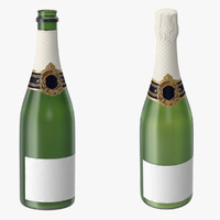 3d champagne 01 bottle open