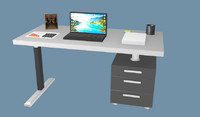 3d desk office model
